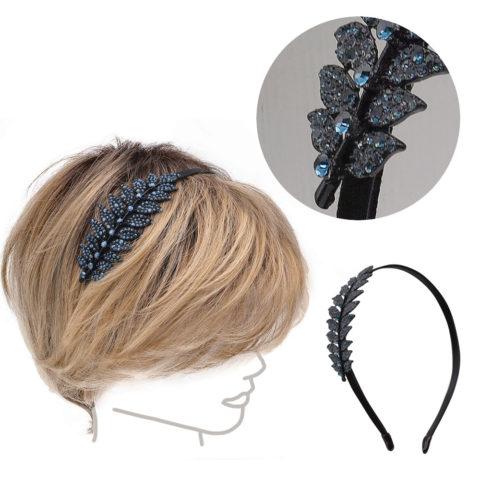 VIAHERMADA Leaf Hairband in Blue Strass
