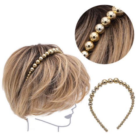 VIAHERMADA Metallic Gold Pearl Hairband