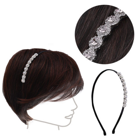 VIAHERMADA Hairband with White Crystals and Side Strass
