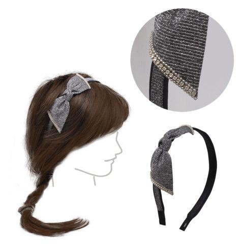 VIAHERMADA Hairband with anthracite bow and rhinestones