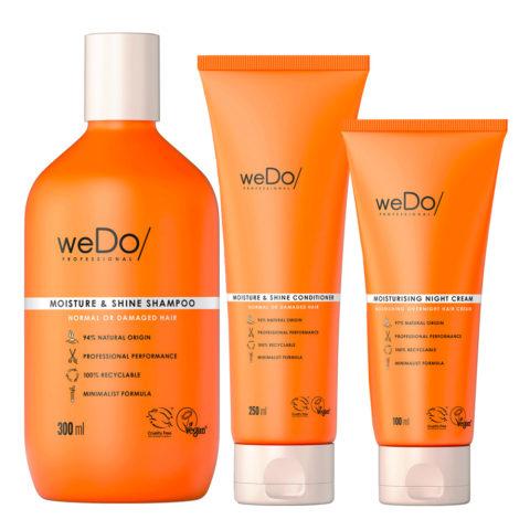 weDo Moisture & Shine Shampoo 300ml + Conditioner 250ml + Night Cream 90ml