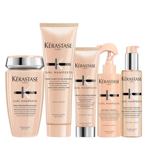 Kerastase Curl Manifesto Shampoo 250ml+Conditioner 250ml+ Crème de Jour 150ml+Refresh Absolu 190ml+Gelée Curl 150ml