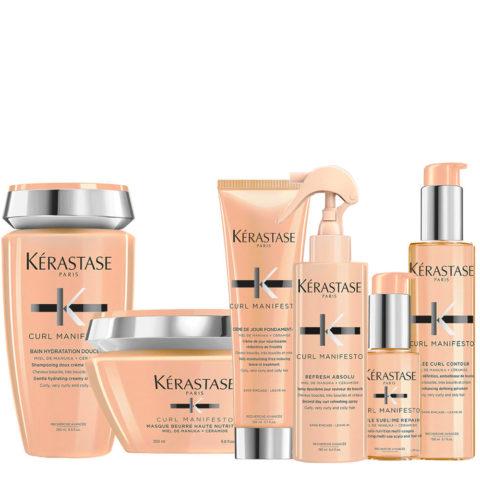 Kerastase Curl Manifesto Shampoo 250ml+Masque 200ml+ Crème de Jour150ml+Spray 190ml + Huile 50ml + Gelée Curl150ml