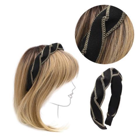 VIAHERMADA Headband in Black and Gold