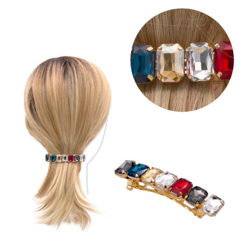 VIAHERMADA Gold Metal Hair Clip with Strass 7.5cm