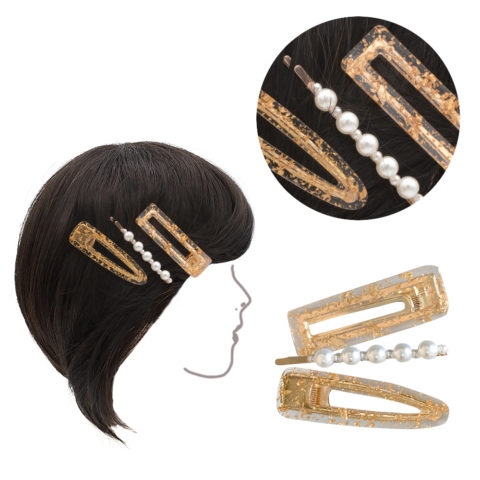 VIAHERMADA Set of three clips in Golden Metal and 6cm Beads