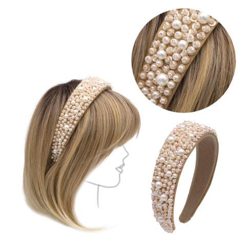 VIAHERMADA Headband in Beige Suede with Pearls and Stones