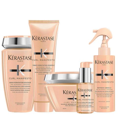 Kerastase Curl Manifesto Kit Curly Hair Shampoo250ml Mask200ml Conditioner250ml Oil50ml Spray190ml