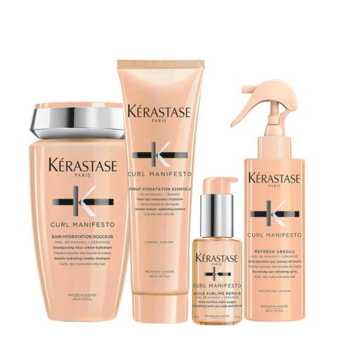 Kerastase Curl Manifesto Kit Curly Hair Shampoo250ml Conditioner250ml Oil50ml Spray150ml