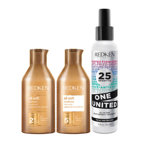 Redken All Soft Kit Shampoo 300ml Conditioner 300ml One United All in one spray 150ml