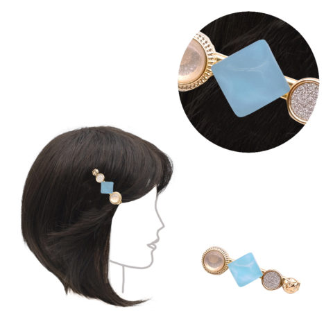 VIAHERMADA Clothespin clip with light blue stone 6cm