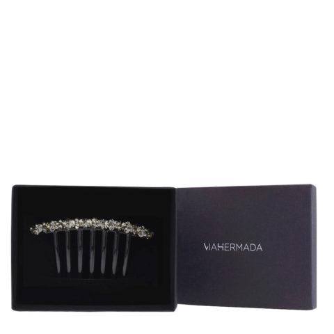 VIAHERMADA Comb Clip in Plastic with Anthracite Crystals