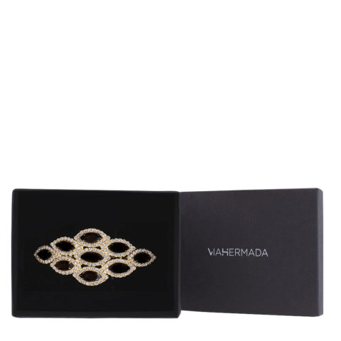 VIAHERMADA Matic Rombo hair clip with Black Stones and Strass