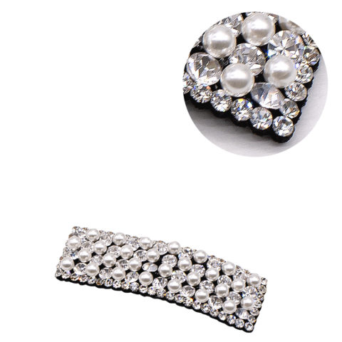 VIAHERMADA Rectangular Clic Clac Hair Clip with Strass and Pearls
