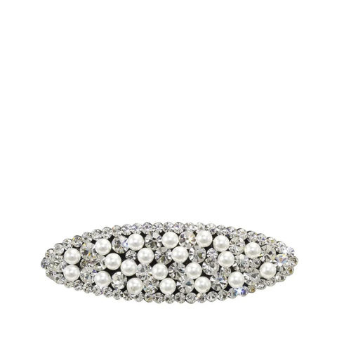 VIAHERMADA Oval Clic Clac Hair Clip with Strass and Pearls