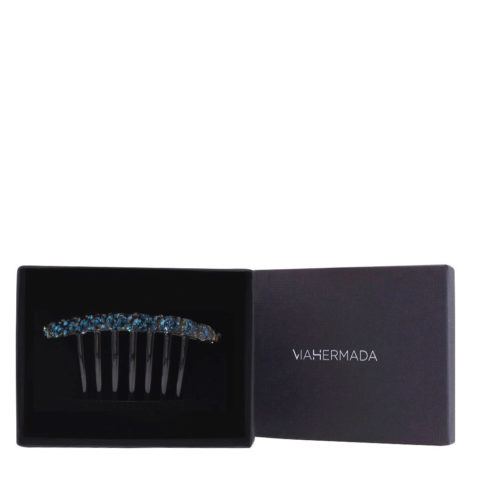 VIAHERMADA Plastic Comb Clip with Blue Crystals