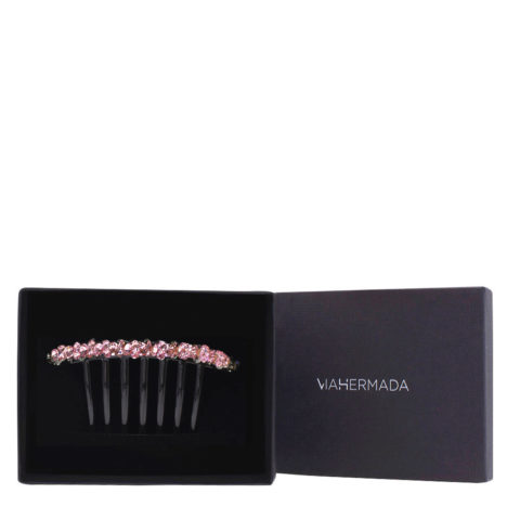 VIAHERMADA Plastic Comb Hair Clip with Pink Crystals