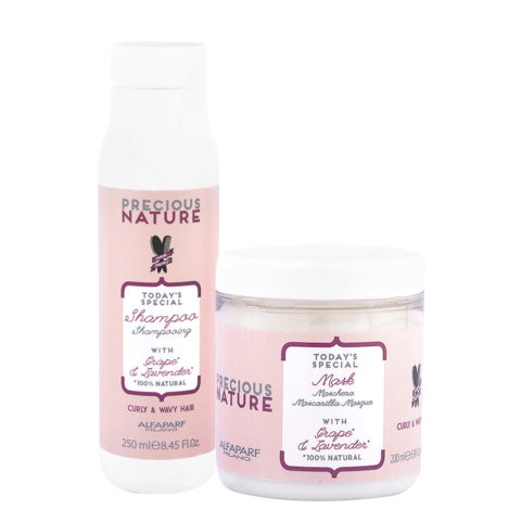Alfaparf Precious Nature Kit Shampoo 250ml and Mask 250ml with Grape & Lavender For Curly & Wavy Hair
