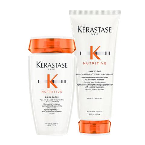 Kerastase Nutritive Satin 1 Shampoo 250ml Lait Vital 200ml