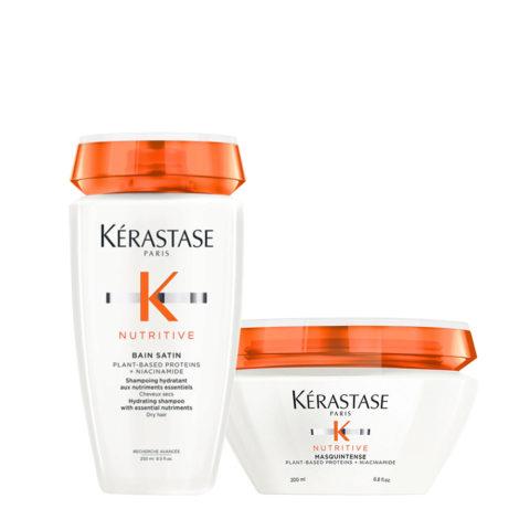 Kerastase Nutritive Kit Bain satin 1 250ml Mask Fine Hair 200ml - normal or dry hair