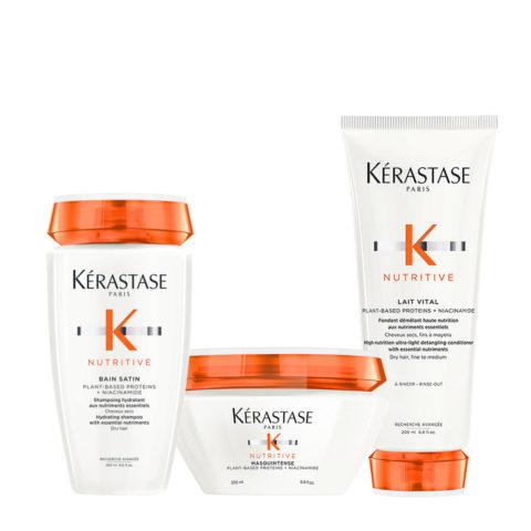 Kerastase Nutritive Kit Bain satin 1 250ml Lait Vital 200ml Mask Fine Hair 200ml - normal or dry hair