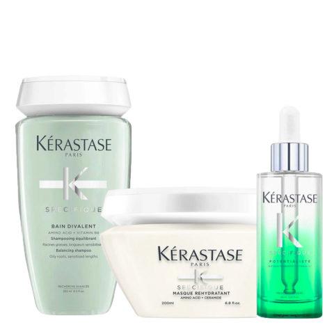 Kérastase Spécifique Bain Divalent Shampoo 250ml Masque Rehydratant 200ml Sérum Potentialiste 90ml