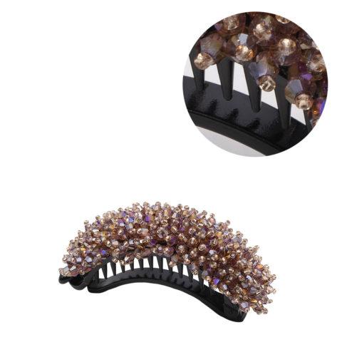 VIAHERMADA Banana Hair Clip with Pink Crystals