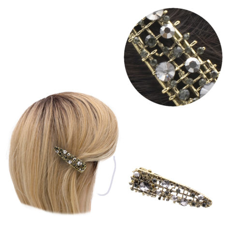 VIAHERMADA Clothespin in Gold Metal and anthracite rhinestones 6cm