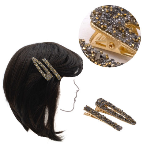 VIAHERMADA Set of two Gold Metal Clips with gold and anthracite rhinestones