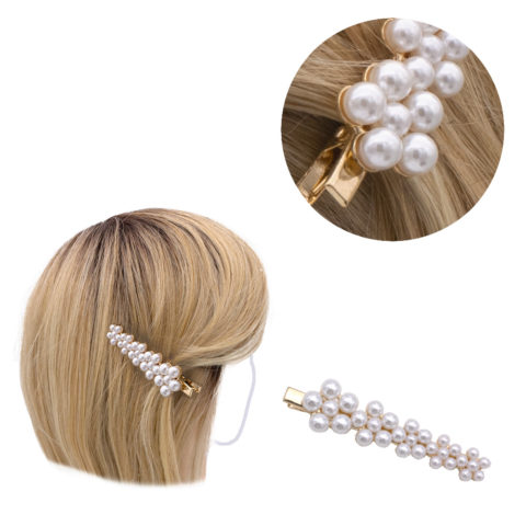 VIAHERMADA Hair Clip Golden with Beads 8x2cm