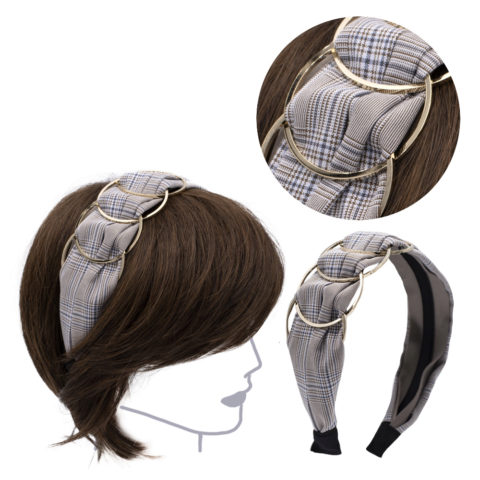 VIAHERMADA Beige Chess Fabric Hairband with Gold Metal Rings