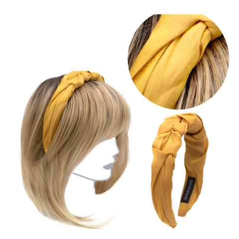 VIAHERMADA Handmade Headband in Yellow Fabric